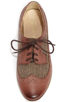Cute Brown Shoes - Oxford Flats - Lace-Ups - $53.00