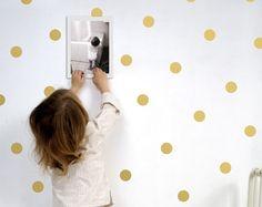 Grandes puntos de oro de la pared, etiquetas engomadas puntos pared, decoración de la pared de lunares
