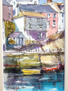 Original Watercolour Landscape Painting- Padstow, Cornwall- by Annabel Burton
