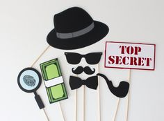 Spy Themed Photo Booth Props 8 Piece Secret by PAPERandPANCAKES