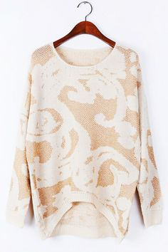 Floral Detailed High-Low Sweater - OASAP.com