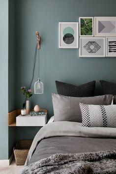 blue green wall bedroom scandinavian with wall art throw decorative pillows