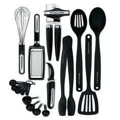 Kitchenaid Classic 17-piece Tools Gadget Set Black Kitchen Utensils #KitchenAid
