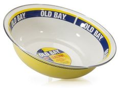 The 4-quart Old Bay Serving Bowl is made of porcelain enamel fused on carbon steel. These are great for the outdoor crab & shrimp boil! They are durable and can be used in the oven, on the stove top, under the broiler and on the grill. The steel content makes them unsuitable for microwave use. #cottageandbungalow #enamelware #servingbowl Crab Stuffed Shrimp, Serveware, Tableware, Enamel Dishes, Cottages And Bungalows, Beach Kitchens, Old Bay Seasoning, Steel Rims, Basin