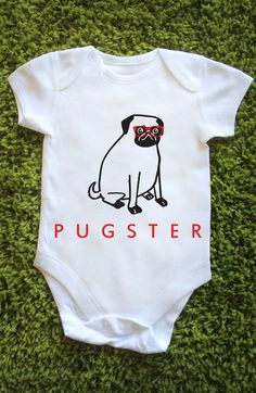 Pugster Baby Grow Vest Onesie Pug Cute Funny by BritishBoutique, £4.99