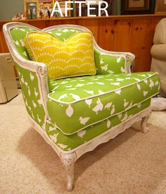 A reupholstered chair project.  DIY