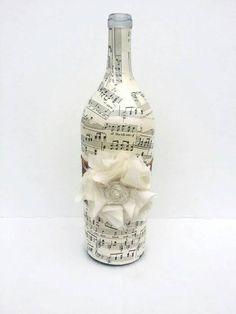 Sheet Music Decoupage Large Wine Bottle, Handmade Altered Bottle, Vintage Sheet Music Decorative Vase, Large Fabric Flower Shabby Home Decor