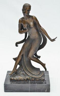 "JOE DESCOMPS (D""après) - ""Dancer"", belíssima escultura em bronze francês apresentando ri"