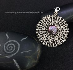 wire crochet pendant VICE-VERSA off-white/brown by smdesignatelier