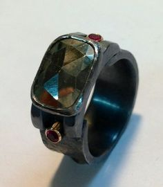Old mine cut pyrite, rubies, 14k settings, blackened sterling silver - $425