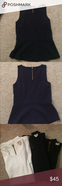 3 minimally-worn sleeveless JCrew peplum shirts 3 minimally worn, JCrew peplum sleeve shirts, size small, white, navy and black J. Crew Tops Tank Tops