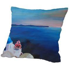 """Brayden Studio Markus Bleichner Kiker Santorini Greek Island View Throw Pillow Size: 18"""" H x 18"""" W x 2"""" D"""