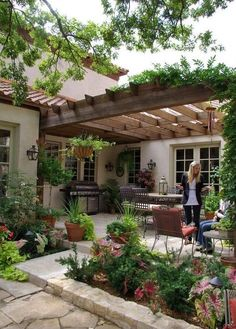 I love this pulled together look and romantic pergola! Thinking of buying a pergola? Learn the essential facts about pergola kits and designs here. Backyard Patio Designs, Pergola Designs, Pergola Patio, Backyard Landscaping, Pergola Ideas, Landscaping Design, Wooden Pergola, Wooden Trellis, Backyard Gazebo