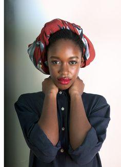 This Woman Is GORGEOUS! Lipstick, Head Scarf, Skin Tone. Fabulous.