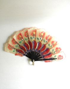 Vintage Burlesque Tango Colorful Red Floral Fan 1970s Feminine and Sexy Semi Transparent Material by JackpotJen on Etsy