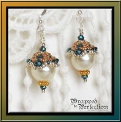 Large Pearl Earrings / Pearl and Crystal by WrappedToPerfection, $29.50