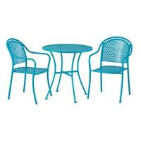 Riviera Round Metal Bistro Table and 2 Chairs