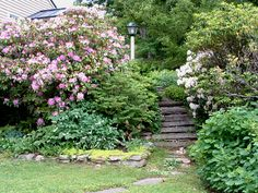 The shrubbery and floral plantings here are designed to spill into the walkway, making it a more interactive garden.