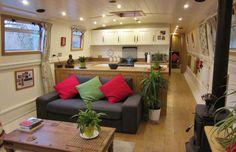 Houseboat Design Ideas - The Urban Interior Barge Interior, Interior Design, Narrow Boats For Sale, Canal Boat Interior, Barge Boat, Narrowboat Interiors, Dutch Barge, Houseboat Living, Houseboat Ideas