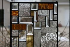 Clears and Amber Stained Glass Window Panel