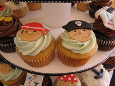Pirate cupcakes for Mia's Birthday! Pirate Birthday, Pirate Party, Birthday Ideas, 3rd Birthday, Pirate Cupcake, Party Fiesta, Blue Cupcakes, Baking Cupcakes, Halloween Cakes