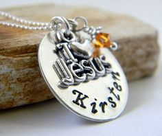 Personalized Religious Necklace I Love Jesus by RosesDesigns, $35.00