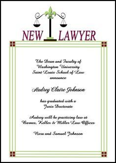 Elegant Navy and Silver Law School Graduation Invitation and