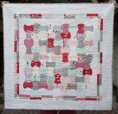 """This sweet Apple Core quilt is squared up with a  pieced border and wide white border. Cute!  From """"{safieh}"""": {Finished} Sherbet Pips Apple Core Quilt"""