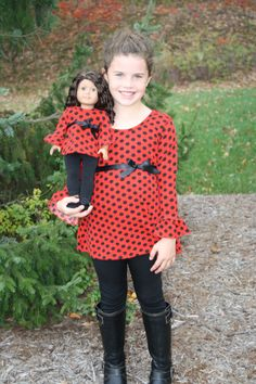 Little Girl Polka Dot Shirt and Leggings with Matching American Girl Outfit Girly Girl Outfits, Twin Outfits, Little Girl Dresses, Matching Outfits, Girls Dresses, Cute Outfits, Matching Clothes, Bitty Baby Clothes, Girl Doll Clothes