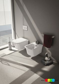 Bathroom:Smart Wall Mounted Bidet And Wc For The Small Wall Hung Sanitary Ware Solutions For The Small Space Conscious Bathroom Bath Tubs Makeover Shower Remodeling Plan Wall Mount Toilet Sink Faucets Design Wall-Hung Sanitary Solutions For The Small Space-Conscious Bathroom