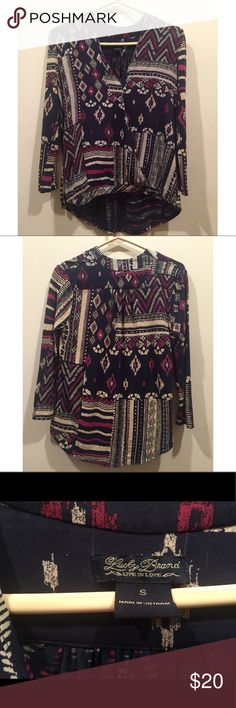 ☀️EUC Lucky Brand Multi Colored Tribal Print Tunic Lucky Brand Multi Colored Tribal Print Tunic in excellent used condition, size small Lucky Brand Tops Tunics