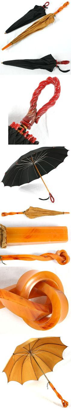 vintage umbrellas with bakelite style handles...   (from Riley Auctions- http://www.antiquehelper.com/item/289979)
