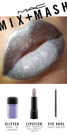 Created using Lip Conditioner, Eye Kohl in Smolder and Fascinating, Mineralize Rich Lipstick in Ionized, and Glitter in 3D Lavender.