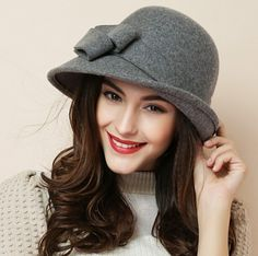 58df9422033e0 Elegant bow bowler hat for winter retro style ladies wool hats