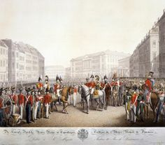 Militærparade på Højbro Plads, ca. 1820