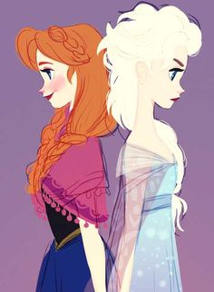 Fan art for Disney's Frozen - Anna and Elsa. I like how almost everyone draws Anna with the gorgeous, loose braids. Art Disney, Film Disney, Disney Kunst, Disney Love, Disney Magic, Disney Stuff, Disney Girls, Frozen Disney, Elsa Frozen