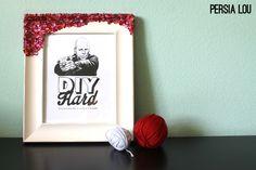 Handmade Gift Idea: Rhinestone Crusted Framed Printable by Persia Lou