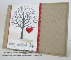 Valentine card using Sheltering Tree and Heart embossing folder all from Stampin' Up!