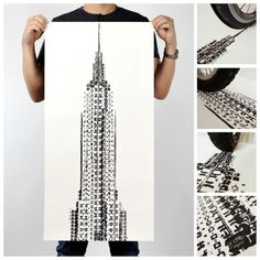 By combining two passions of cycling and the print arts, Singapore-based designer Thomas Yang has created a series of posters for - featuring famous architectural landmarks in New York, Paris, London & Beijing and printed with bicycle tire tracks. Empire State Building, Tyre Tracks, Peking, Bicycle Tires, Communication Art, Poster Prints, Art Prints, Posters, 10 Picture