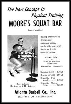 Moore's Squat Bar Advertisement | Harry Johnson | Oldtime Strongman