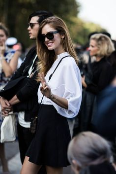 Chiara Ferragni keeping it casual with her oversized shirt. #catchatrend #streetstyle #pfw #ss15 #oversized #shirt
