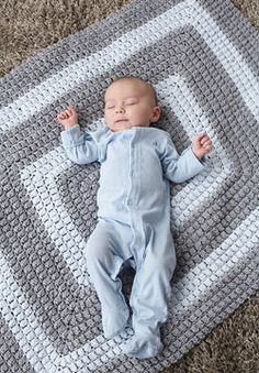 Free Pattern  Crochet from the middle out in this striped pattern which features the exciting popcorn stitch! Shown in Patons Beehive Baby Sport.