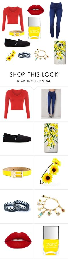 """Modern Disney Princess: Snow White"" by sdjohnson20034 ❤ liked on Polyvore featuring WearAll, PacSun, TOMS, Casetify, Dolce&Gabbana, Forever 21, Pomellato, Lime Crime, Nails Inc. and modern"