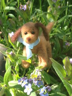 Harvey the hound, OOAK, needle felted puppy, dog, collectible, miniature, gift idea by weewooleybeasties on Etsy