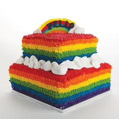 How To Make a Rainbow Birthday Cake - Novelty Birthday Cakes Basic Vanilla Cake Recipe, Sweet Recipes, Cake Recipes, Cake Slicer, Rainbow Food, Rainbow Cakes, How To Make Frosting, Novelty Birthday Cakes, Rainbow Birthday