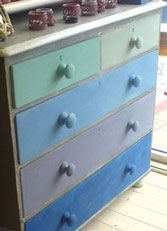 Chalk paint:  Painted the chest of drawers with the cool colours. The drawers are all different; from the top left Duck Egg, then Versailles, Next is Greek Blue then Old Old Violet then finally Napoleonic Blue. To stop the whole thing looking too crazy, painted the shell of the chest in Chateau Grey which is a green grey and almost a neutral. moulding in Old White