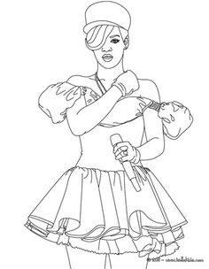 Singing Rihanna coloring page. More famous people coloring pages on hellokids.com