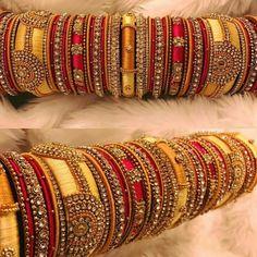 ₹silkthread with emblieshed stones Silk Thread Earrings Designs, Silk Thread Bangles Design, Thread Jewellery, Chuda Bangles, Bridal Bangles, Bridal Jewellery, Indian Wedding Jewelry, Indian Jewelry, Bangle Set