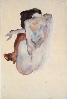 """Egon Schiele: """"Crouching Nude in Shoes and Black Stockings,"""" 1912."""