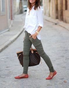 Olive pants white blouse red shoes